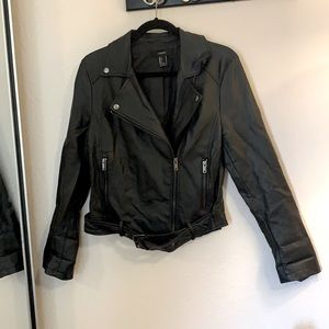 Faux leather moto jacket with rose motif on back